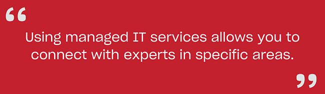 Using managed IT services allows you to connect with experts in specific areas.